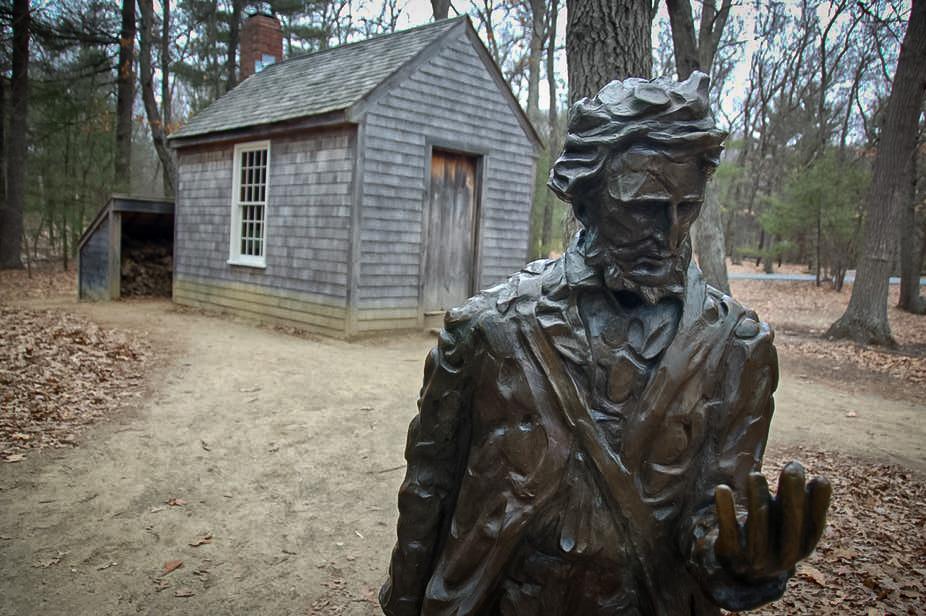 Henry David Thoreau'nun anısına Walden Gölü yakınındaki kabinin önüne dikilen heykel