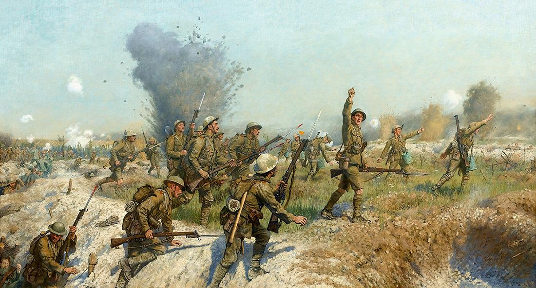 İngiliz ressam J.P. Beadle'ın fırçasından 'Somme Muharebesi: Ulster Tümeni'nin Taarruzu, 1 Temmuz 1916' adlı tablo