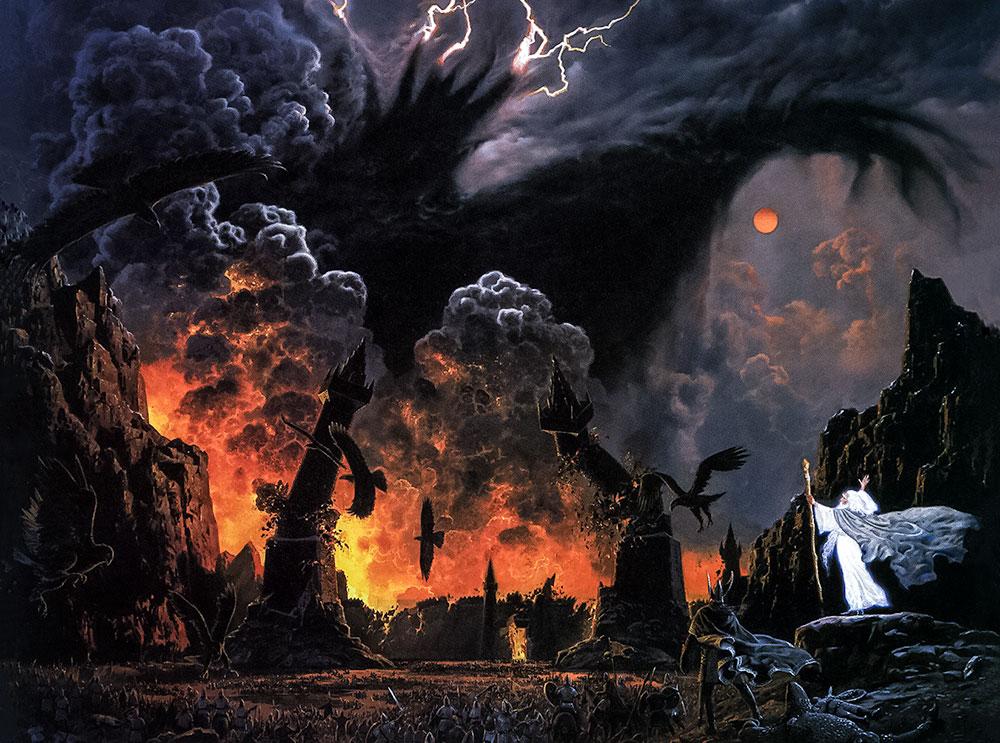 Ted Nasmith'in, Tolkien'in Sauron'u 'Gölge' olarak tasvir ettiği ama yarım kalmış bir resminden esinlendiği 'Sauron'un Gölgesi' illüstrasyonu