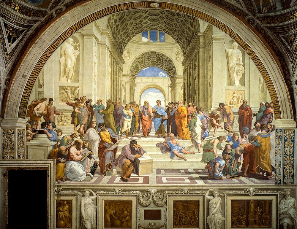 Ünlü İtalyan ressam Raphaello Sanzio'nun Eflatun, Aristo, Sokrates ve pek çok başka felsefeciyi resmettiği 'Atina Okulu' adlı freski / 1509 - 1511