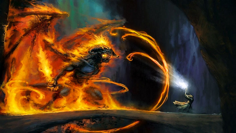 Balrog'un temsil ettiği 'Nar Unsuru' ile Gandalf'ın temsil ettiği 'Nur Unsuru' karşı karşıya