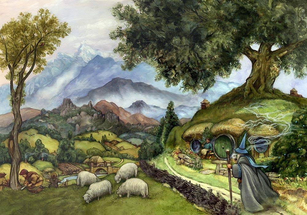 Toprak, bitkiler ve hayvanlar ile derinden irtibatlı ve ahenk içinde yaşayan hobbitlerin diyarı: Shire