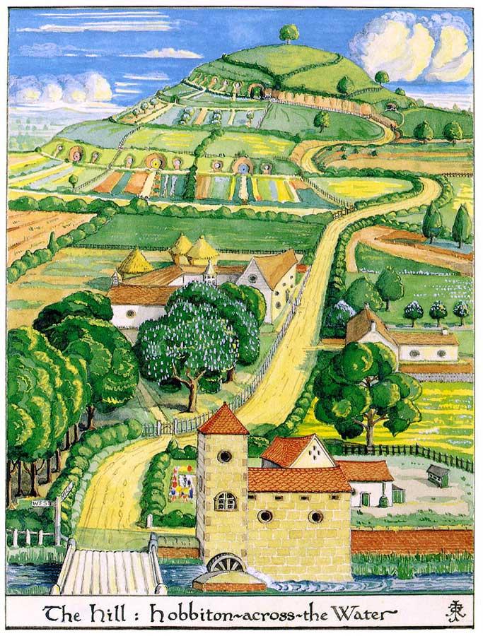 Bahçelerden, ağaçlardan ve makine deymemiş tarlalardan zevk alan Tolkien'in kendi fırçasıyla hayallerini kağıda döktüğü Hobbiton resmi