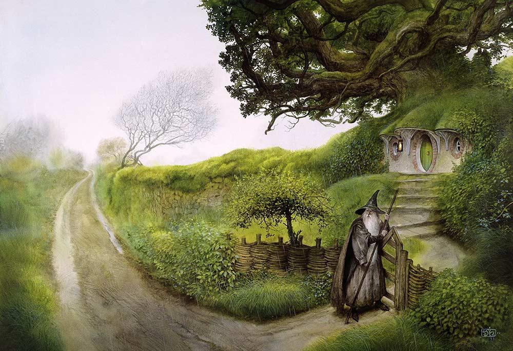 Ağacın köklerinde yuvalanmış 'Çıkın Çıkmazı' / 'Gandalf Hobitton'a Geri Döner' - John Howe - 2005