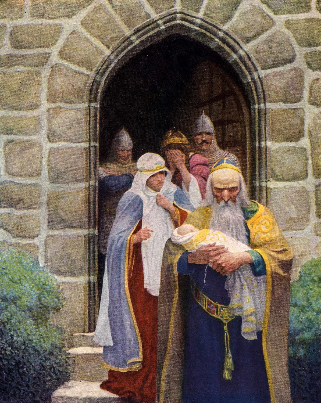 Yeni doğmuş Arthur'un kaderine doğru yolculuğunu başlatan Merlin - N.C. Wyeth