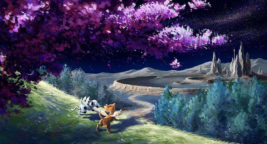 Oyuna dalarak Ay'daki Adam'ın beyaz kulesinden karanlığa doğru uzaklaşan Roverandom ve Ay-köpeği