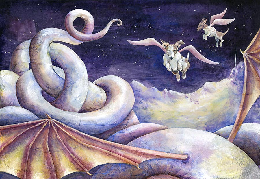 Yaramaz Rover ve Av-köpeği Ay'daki Ejderha'nın inine girerek onu kendilerine musallat ederler