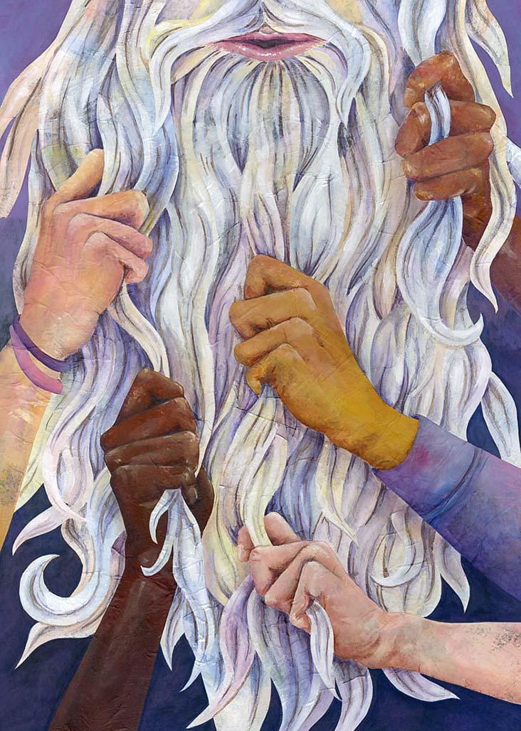 Ay'daki Adam'ın uzun beyaz sakalına hayran Ay çocukları
