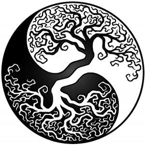 Zen Budizmi'nin sembollerinden Ying/Yang formunda Beyaz ve Siyah Hayat Ağacı