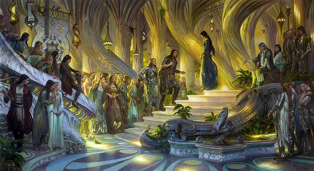 Elf Kralı Thingol and Elf Kraliçesi Melian'ın huzuruna çıkan Beren ve Lúthien