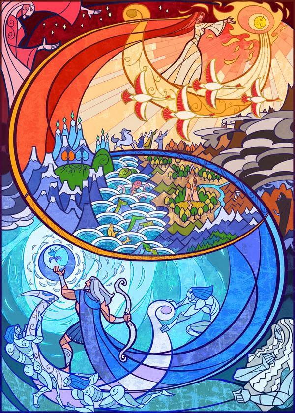 Arien tarafından taşınan Güneş ve Tilion tarafından taşınan Ay